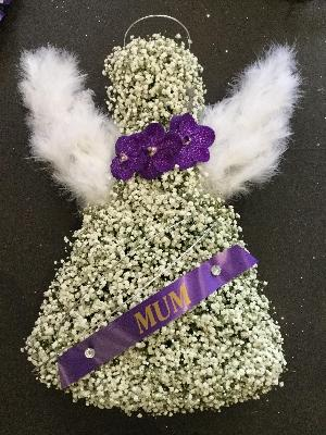 WHITE FEATHER ANGEL TRIBUTE WITH PURPLE ORCHID AND DIAMANTE FINISH