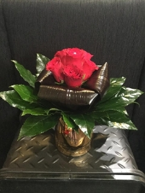 Copper Red Rose Vase