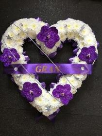 BEAUTIFUL WHITE HEART WITH PURPLE ORCHID AND DIAMANTE FINISH
