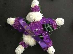 WHITE AND PURPLE ORCHID STAR SHAPED TRIBUTE WITH DIAMANTE FINISH