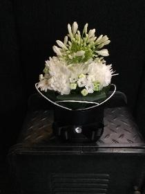 Black gloss hat box with white floral finish