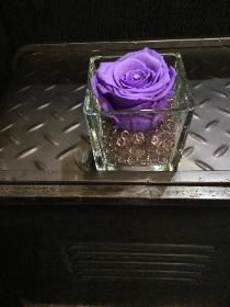 Clear glass tank with a grey crystal and lilac everlasting rose