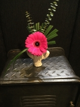 Funky cactus vase with cerise pink Gerbera and eucalyptus finish