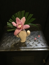 Funky cactus vase with pink orchid and pearl finish
