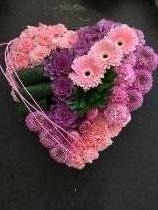 Large modern style heart in pinks and lilacs
