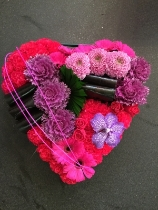 Large modern style heart in purple and cerise pinks